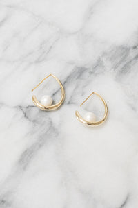 gold threader hoop earrings with pearl accents