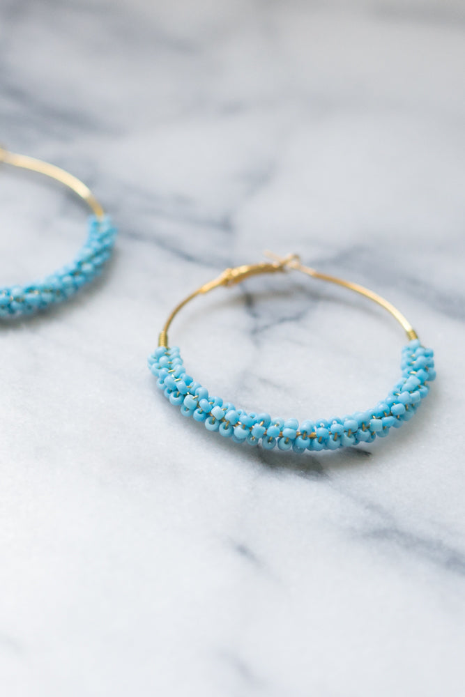 Laurie | Turquoise Beaded Hoop Earrings | 18k Gold Plating | Janna Conner | Sale