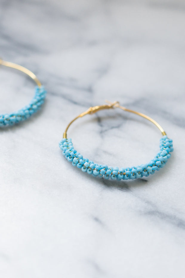 Laurie | Turquoise Beaded Hoop Earrings | 18k Gold Plating | Janna Conner