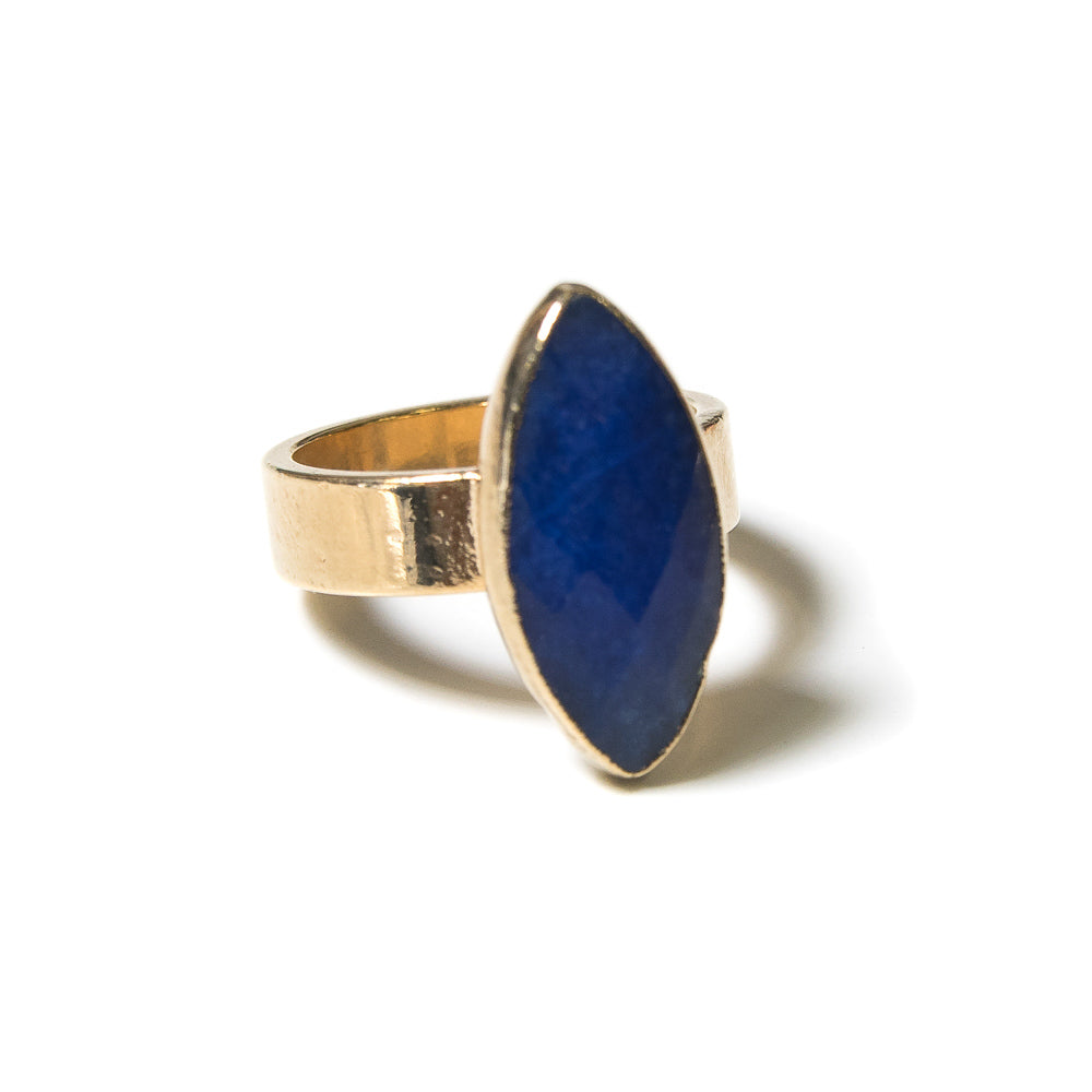 blue jade marquis gold ring