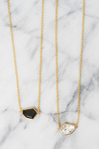 Swarovski pendant layering necklaces in black and crystal