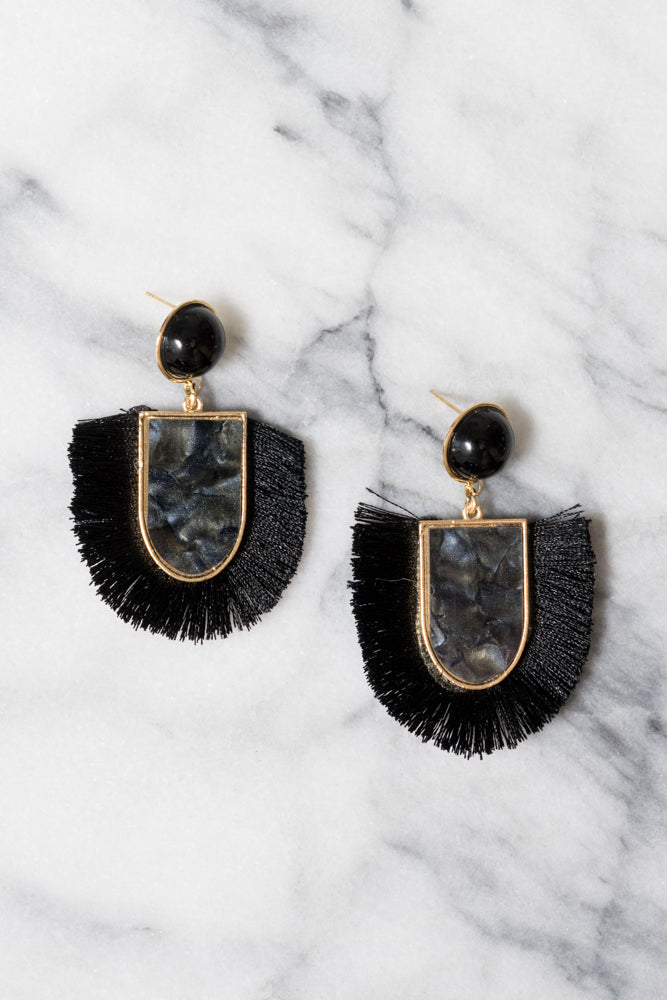 black acrylic fringe earrings