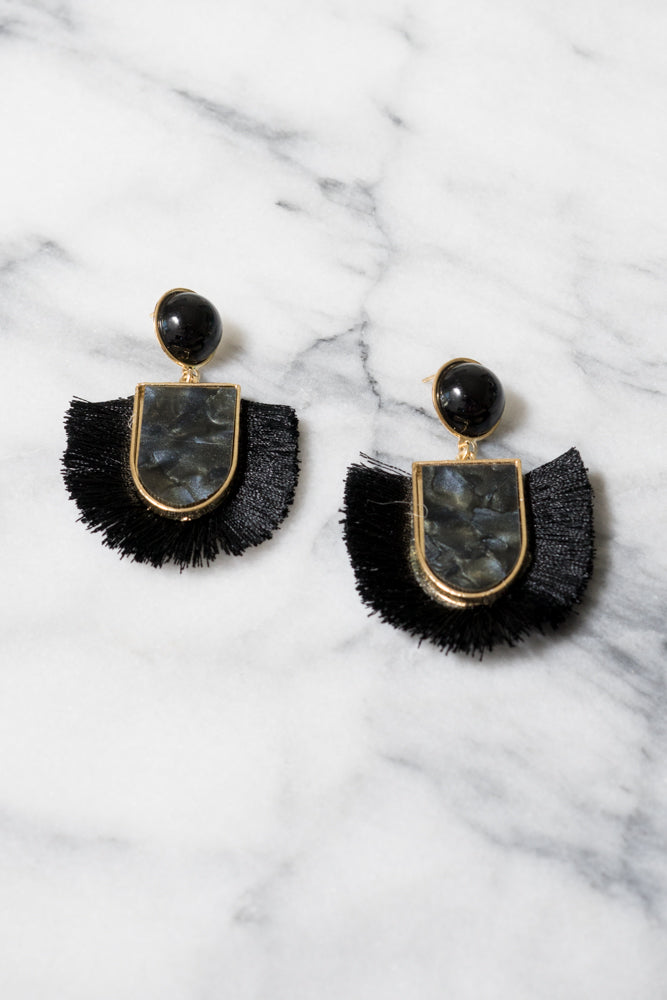 Winola Fringe Earrings | Jet Black Acrylic | Janna Conner