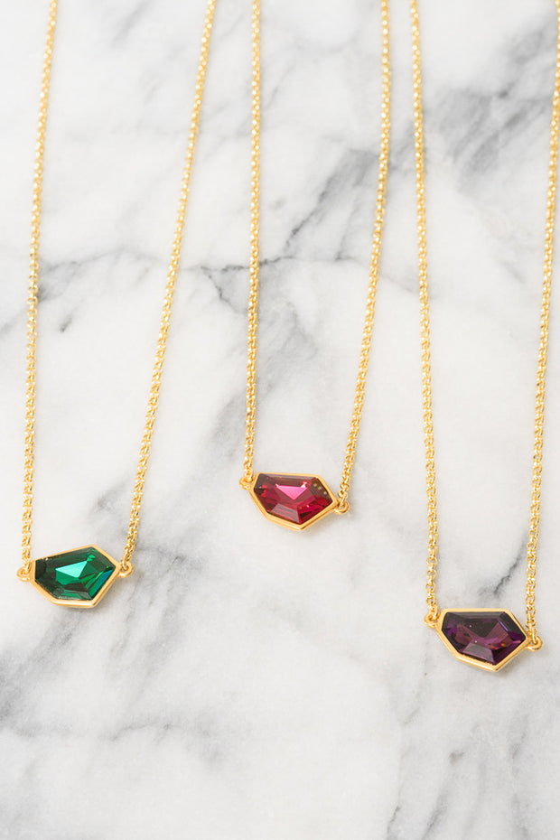 Swarovski pendant layering necklaces in jewel tones