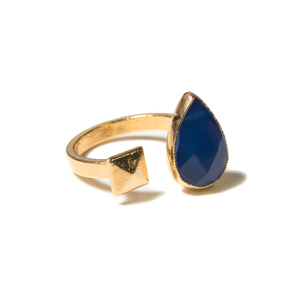 blue open ring with pyramid stud