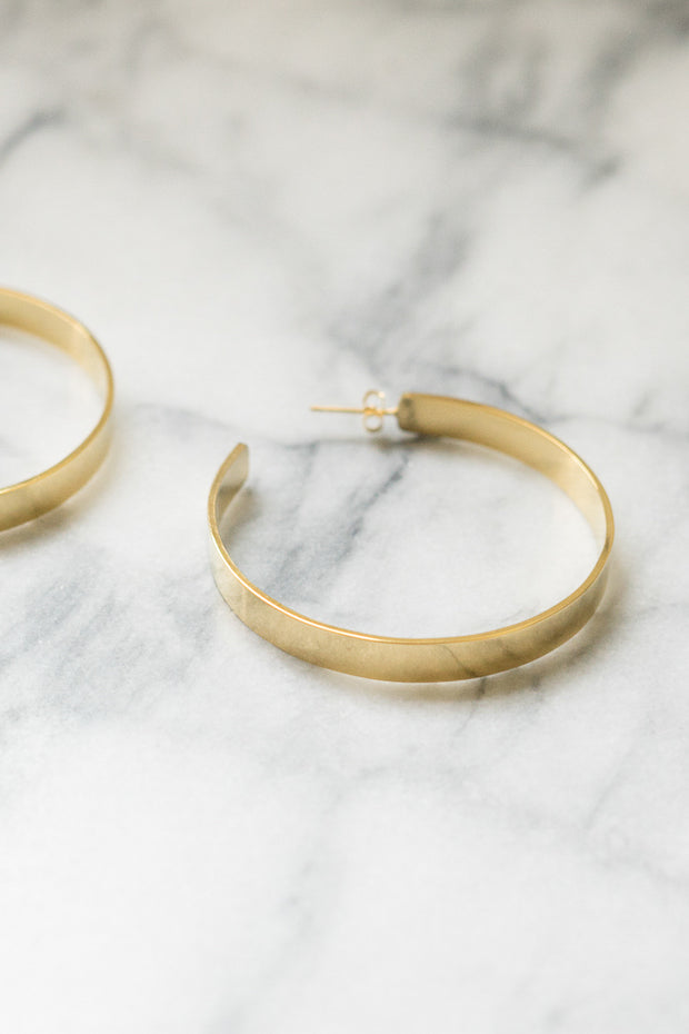 Jasia Large Hoop Earrings | 18k Gold Plating | Janna Conner