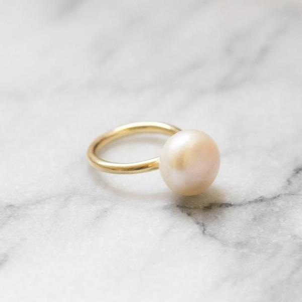 pearl lollipop gold ring 14k janna conner