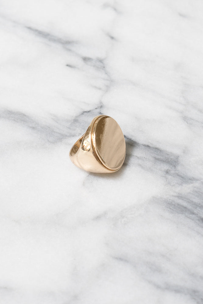 gold oversize signet ring for women