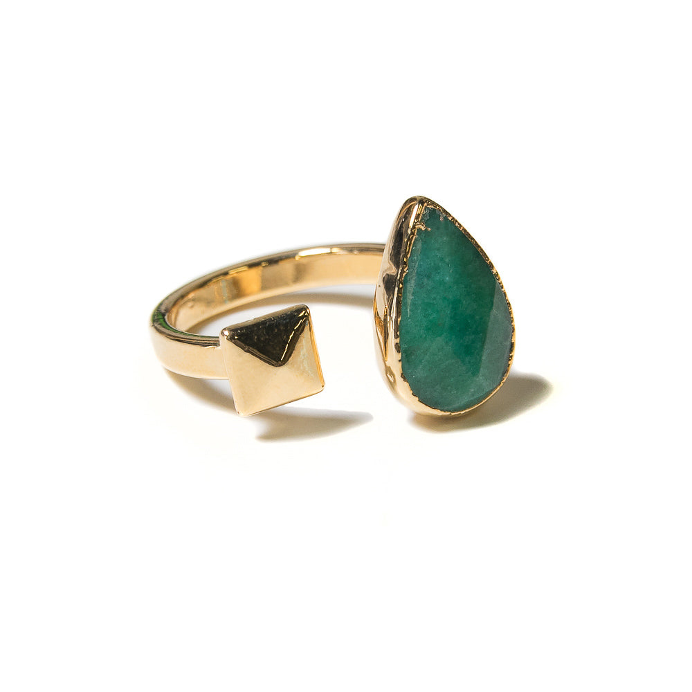 green jade teardrop open ring with pyramid stud accent