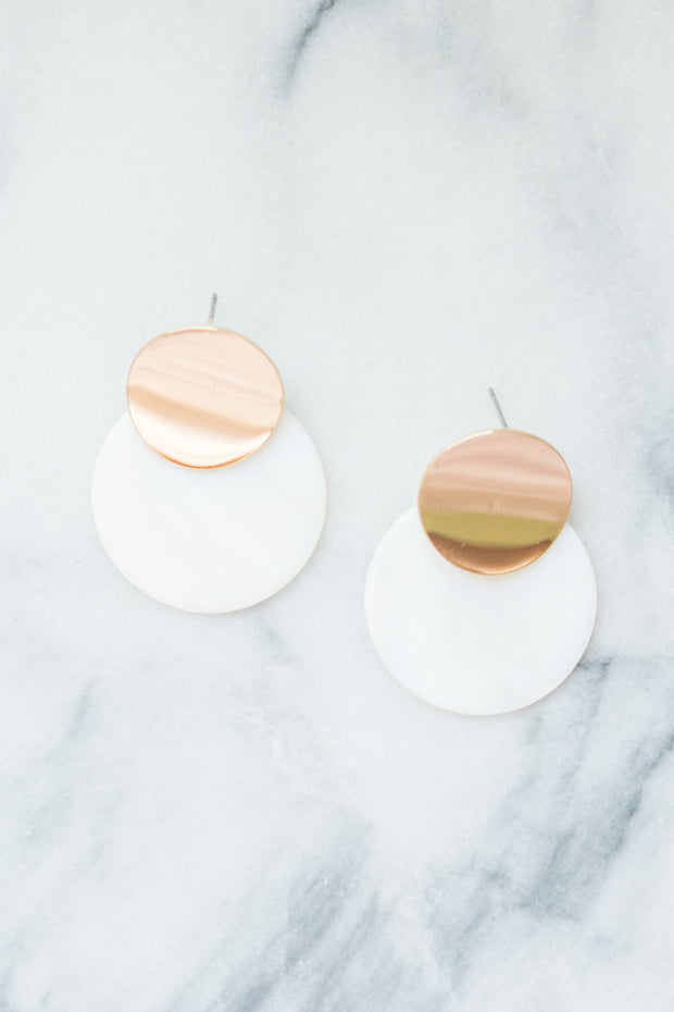 white mother of pearl disc earrings with gold accents