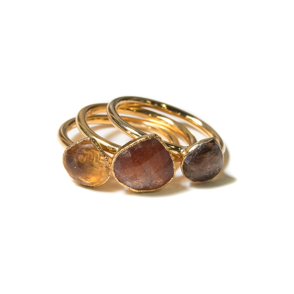 sunstone, citrine and quartz gold stacking rings