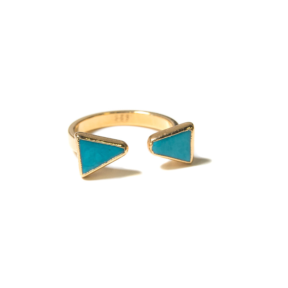 turquoise triangle open ring