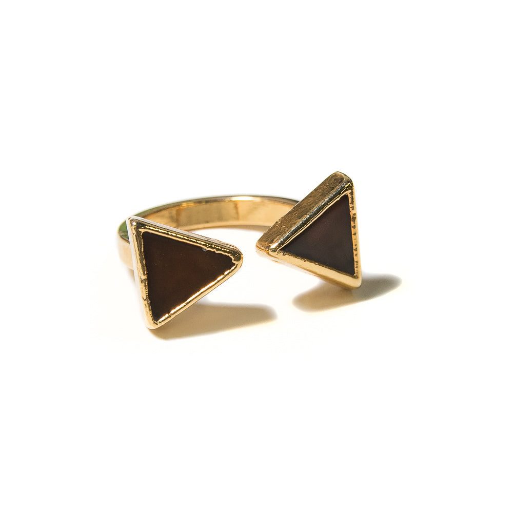 Sheba Open Ring | Chocolate Chalcedony | 18k Gold Plated | Janna Conner