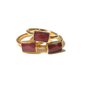 red rectangular stacking ring set