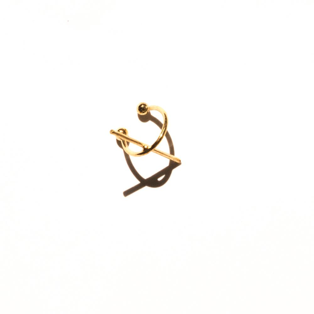 gold ear cuff with bar