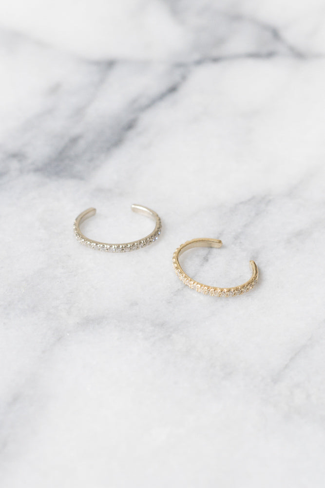 yellow gold and white gold diamond ear cuffs