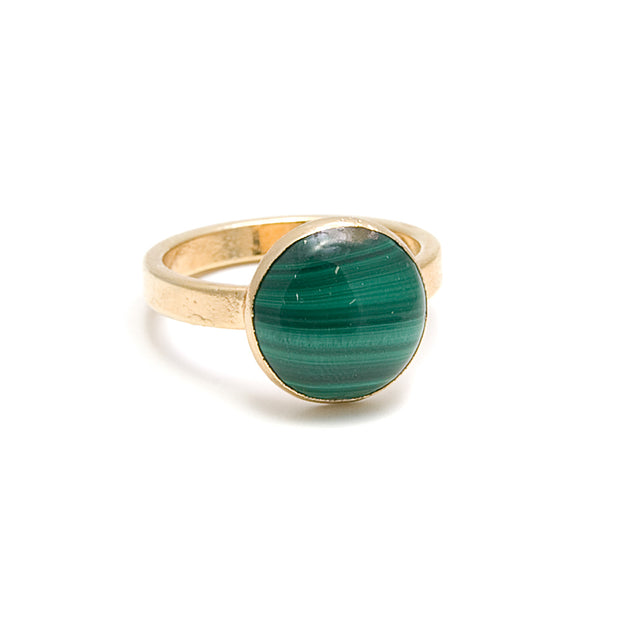 malachite round stone ring