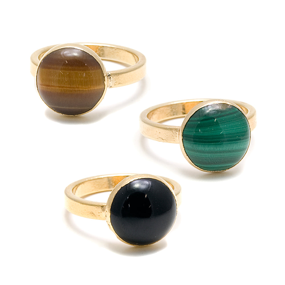3 gold rings with round stones, onyx, tiger eye and malachite