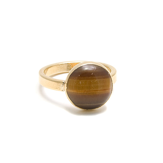 tiger eye round stone gold ring