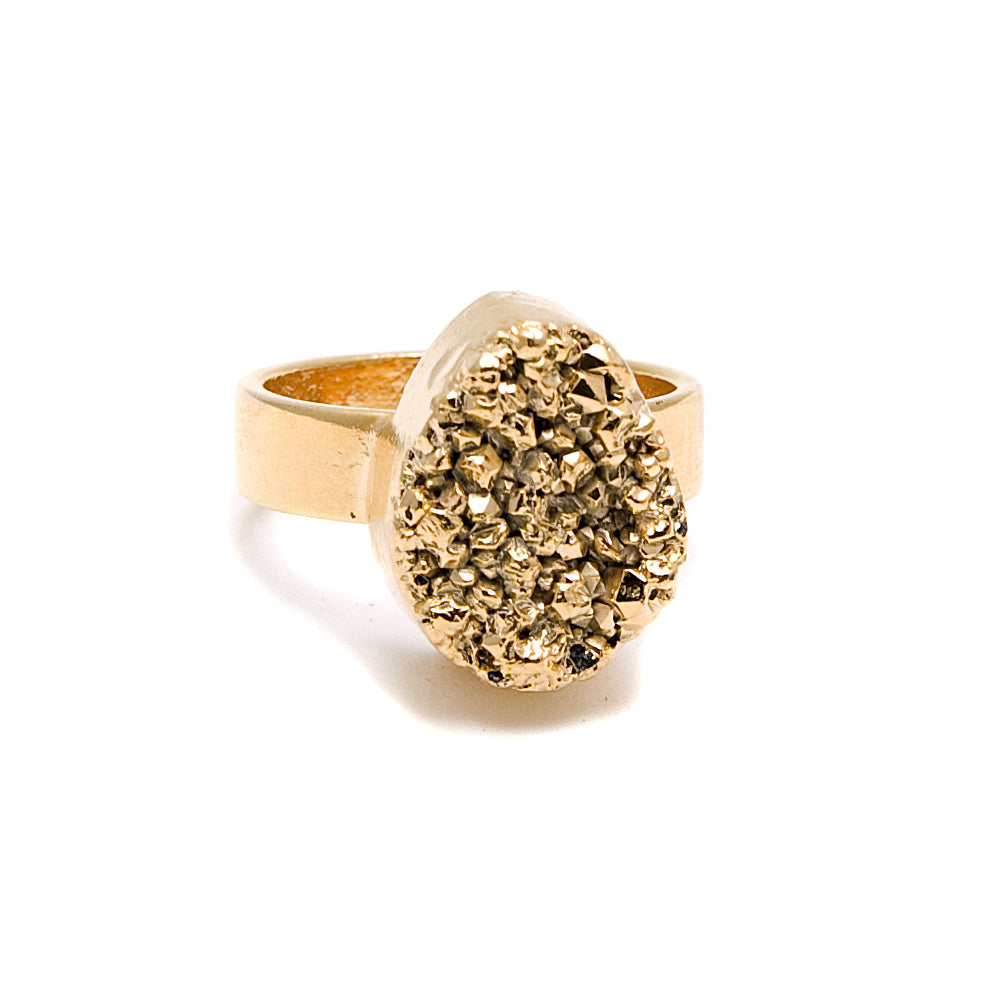 gold plate druzy ring