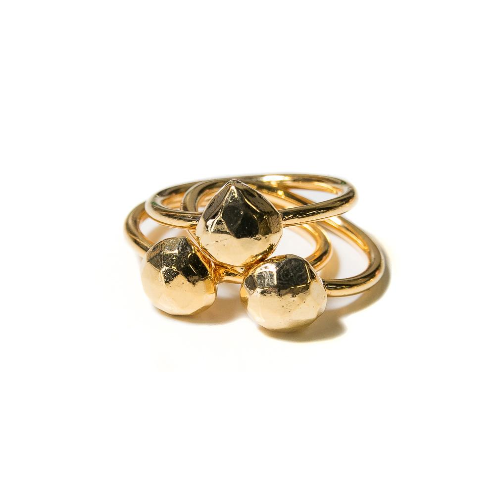 gold pyrite faceted teardrop stacking rings