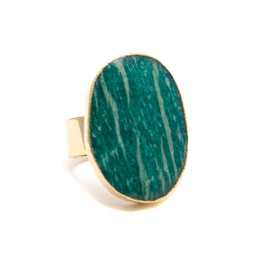 Russian amazonite oval ring
