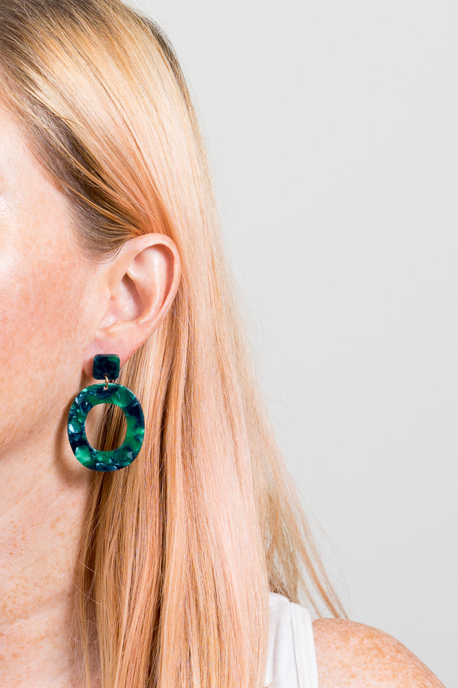 Rilla Statement Earrings | Green Marble Acrylic | Janna Conner