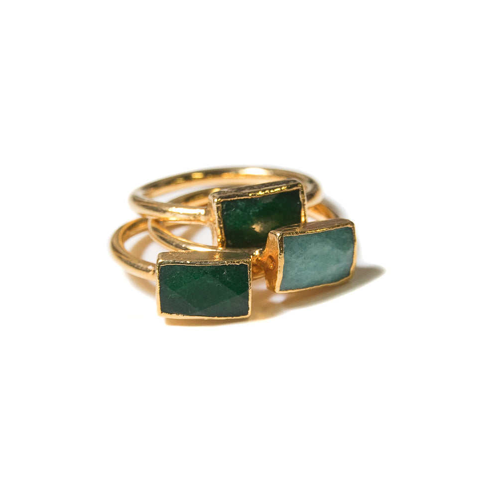 Ida Stacking Ring Set |  Green Jade Mix | 18k Gold Plating | Janna Conner