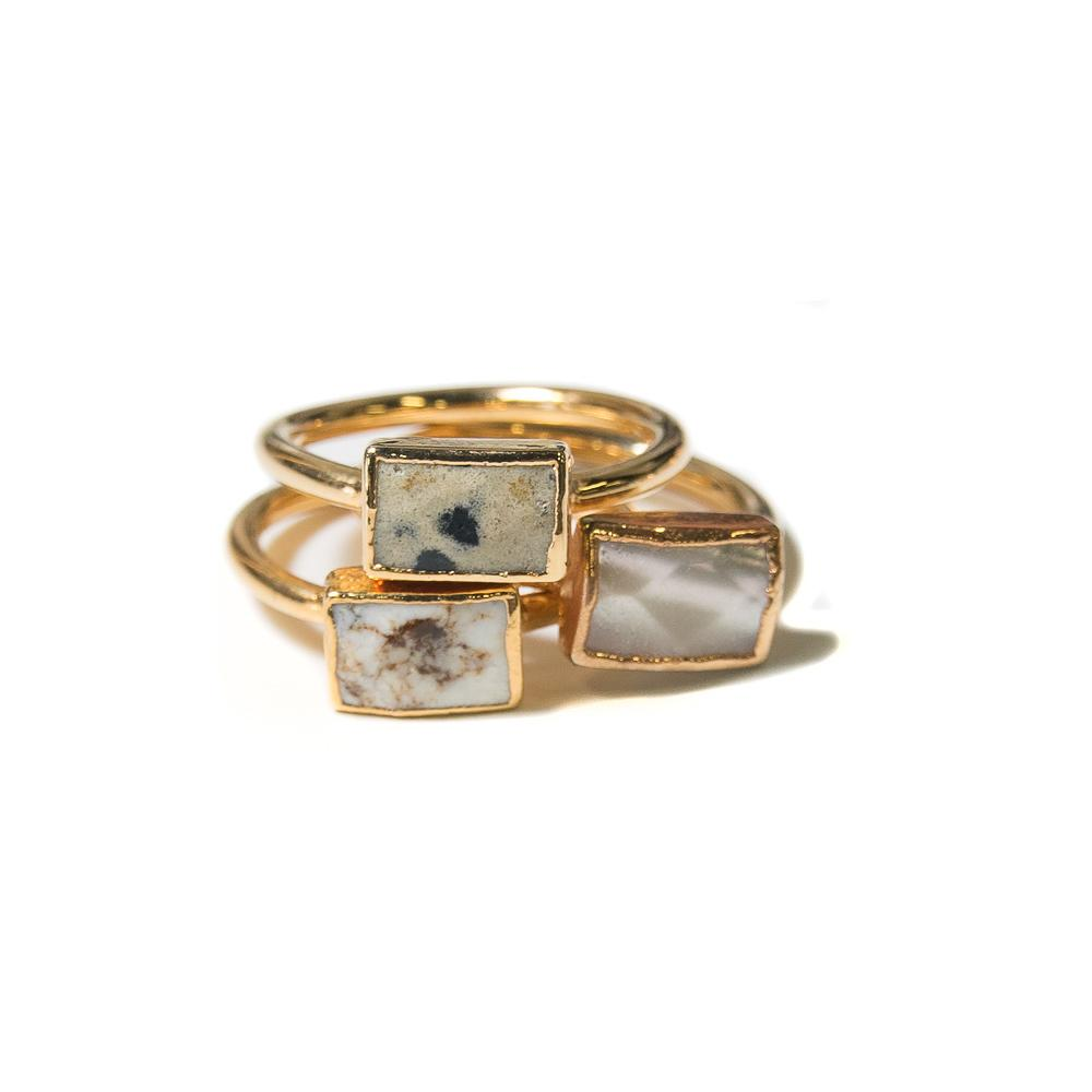 picture jasper, lemon chrysoprase and mother of pearl stacking rings