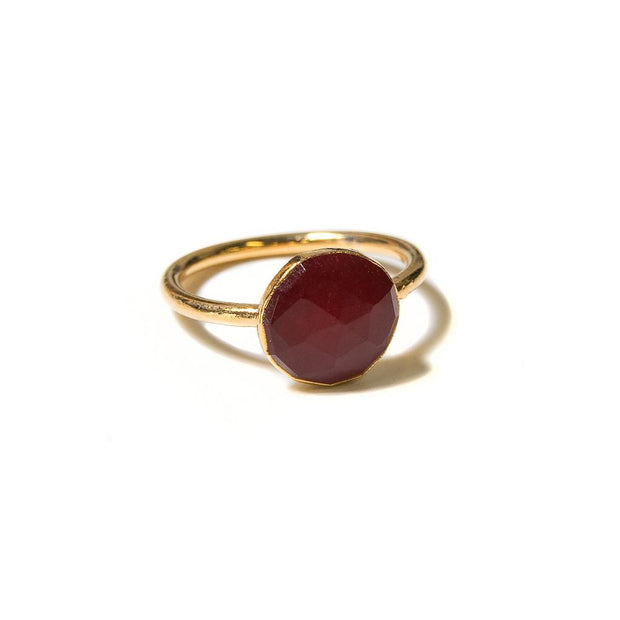rose cut red ruby quartz stacking ring