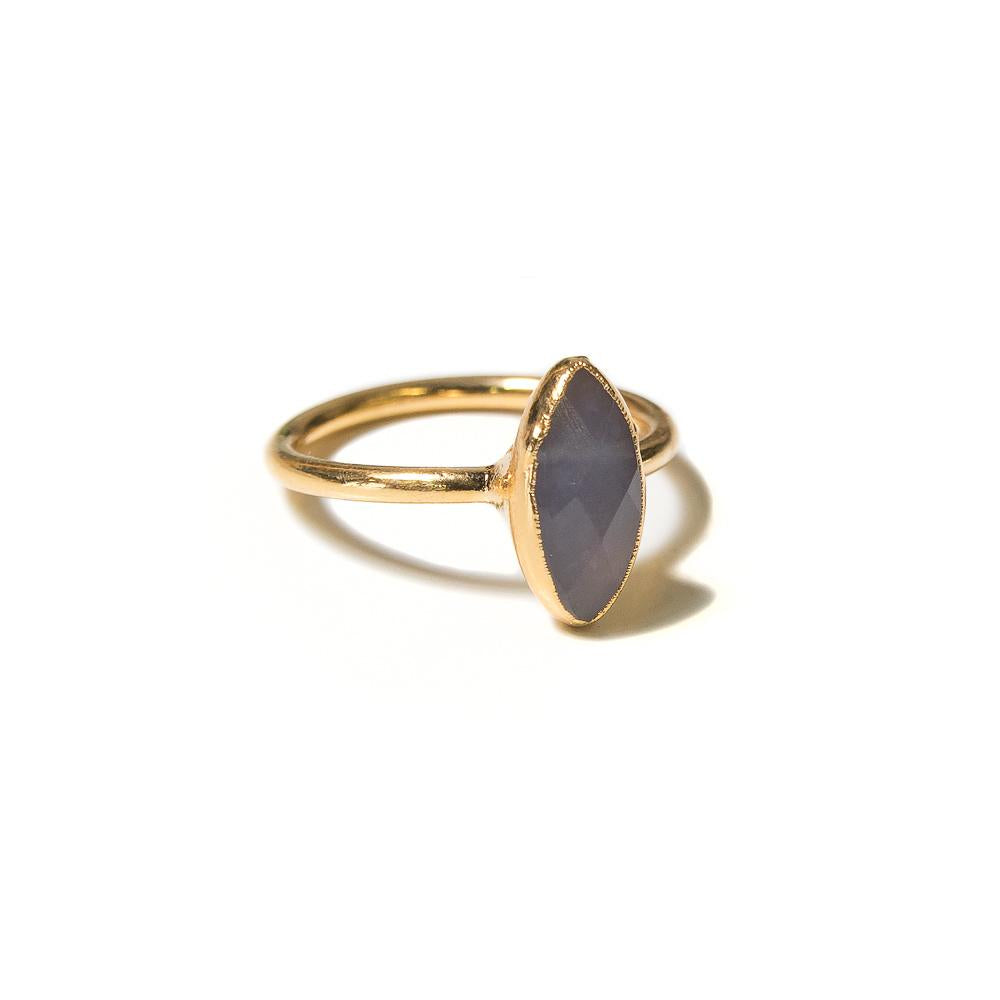 chalcedony marquis gold stacking ring