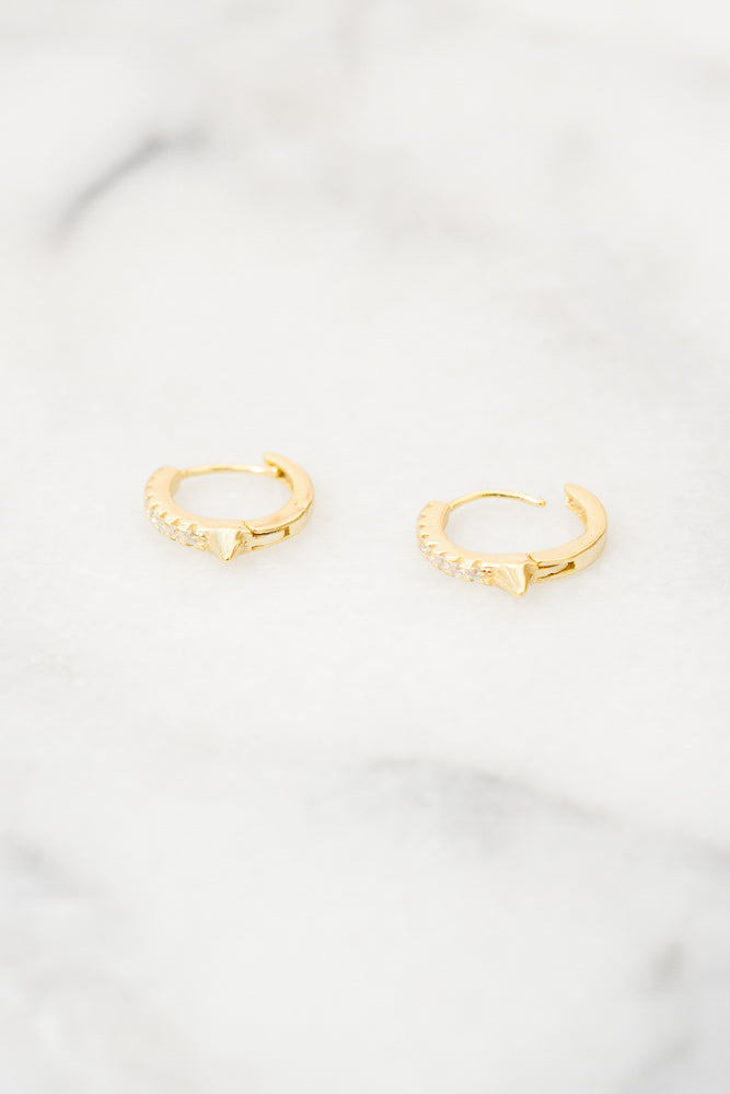 Lita Spike Huggie Hoop Earrings | Cubic Zirconia | 18k Gold Plating | Janna Conner
