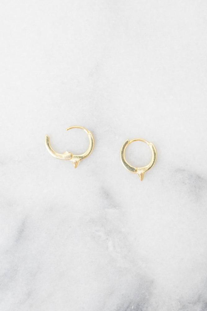 gold huggie hoop spike earrings