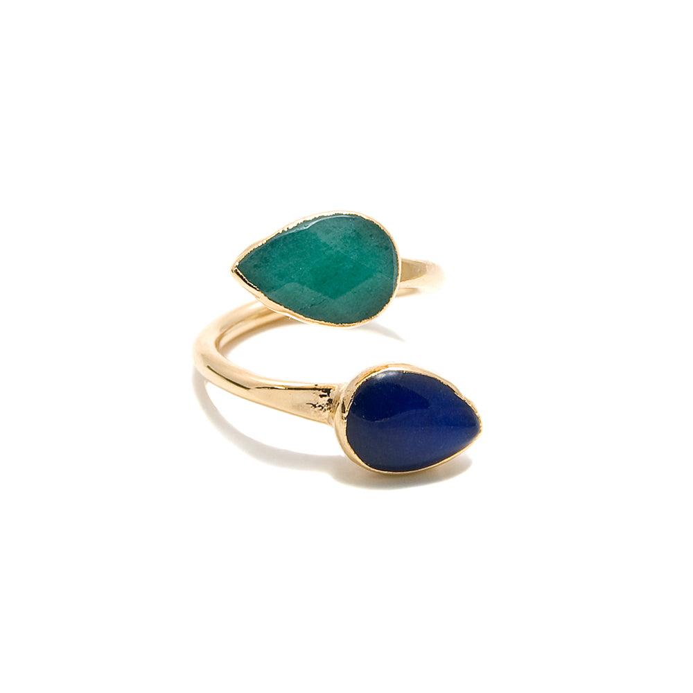 green and blue wraparound ring