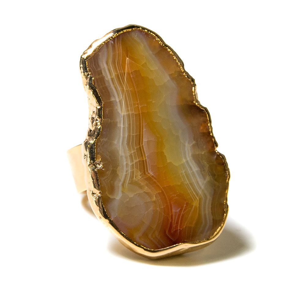 yellow agate cocktail ring