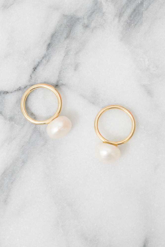 pearl lollipop stacking rings 14k gold janna conner
