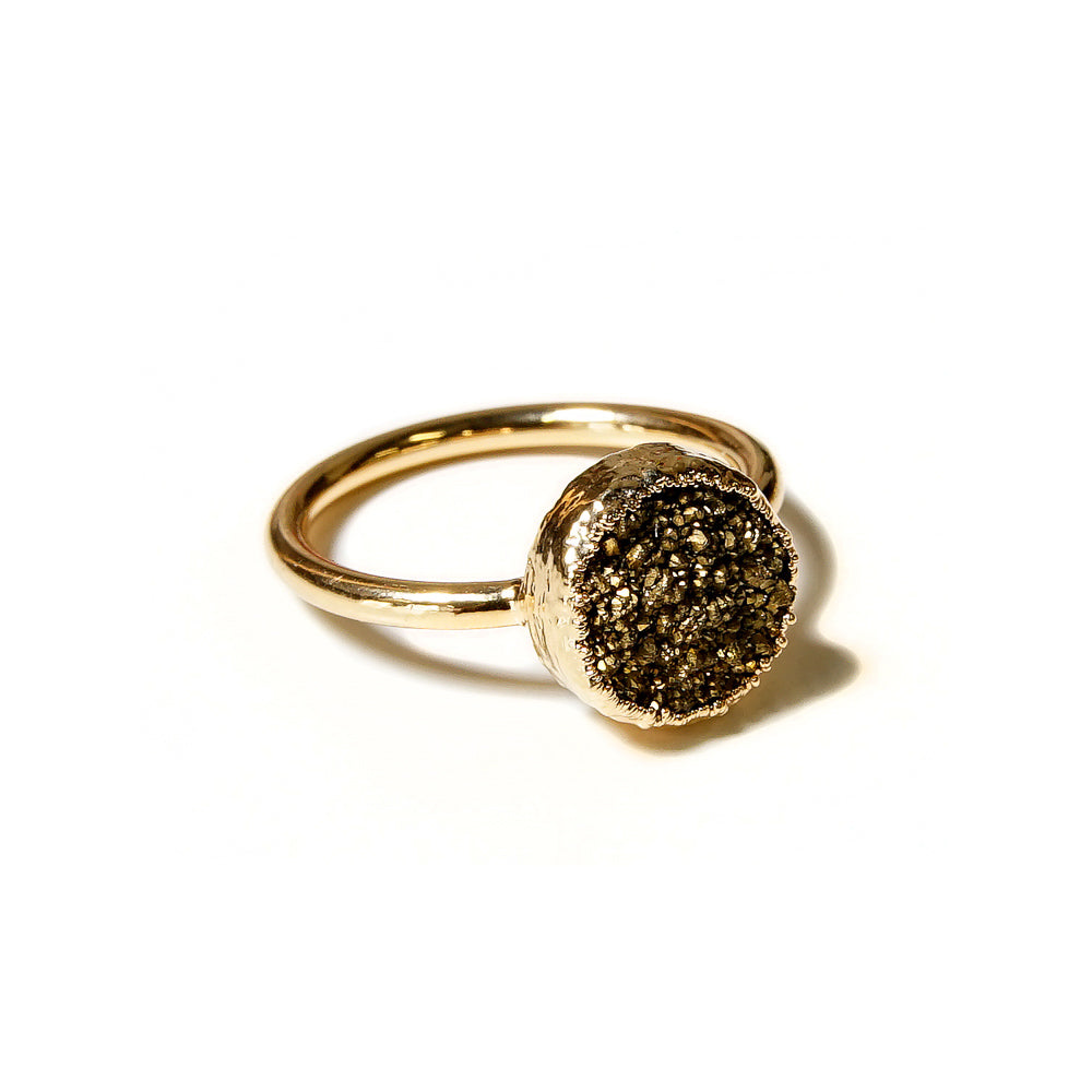 bronze druzy stacking ring