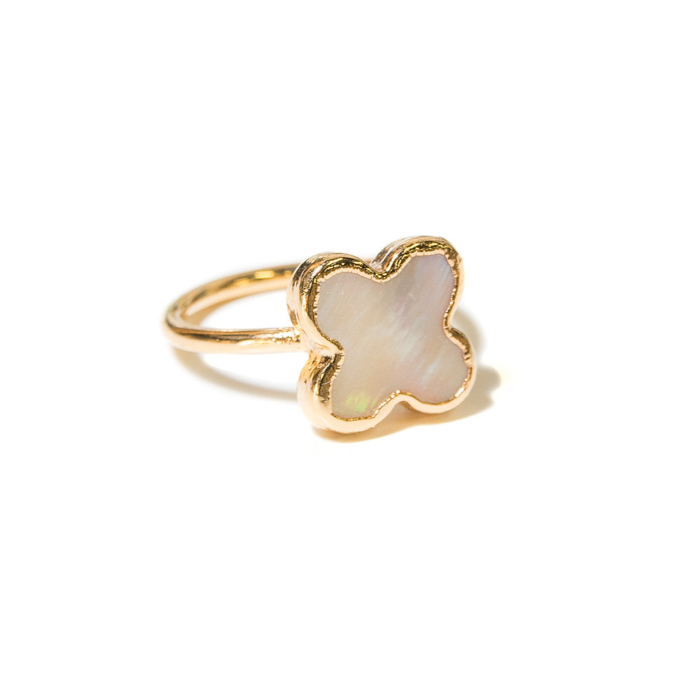 mother of pearl clover stacking  ring