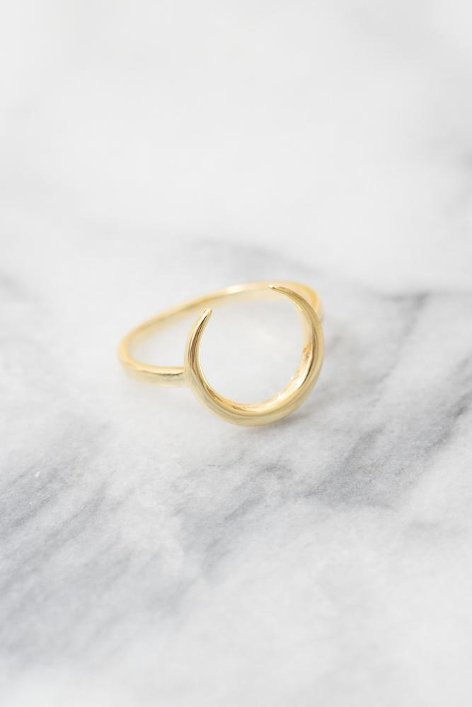 gold crescent moon ring