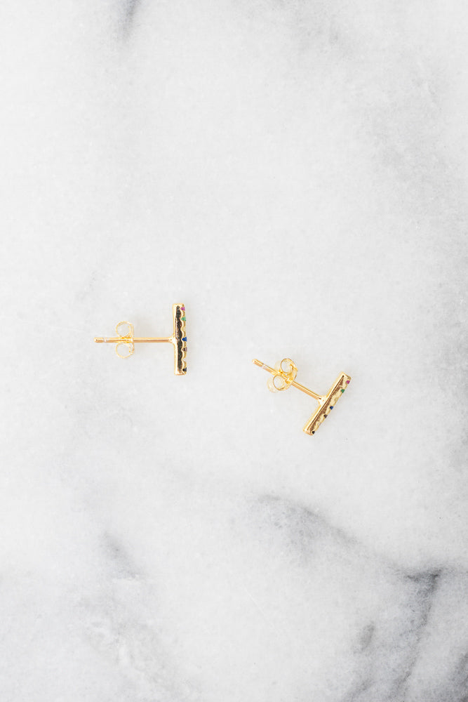 rainbow bar stud gold earrings