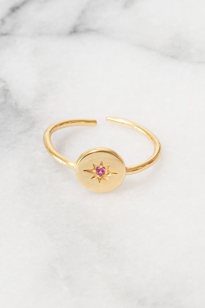 gold small signet ring stacking red cubic zirconia