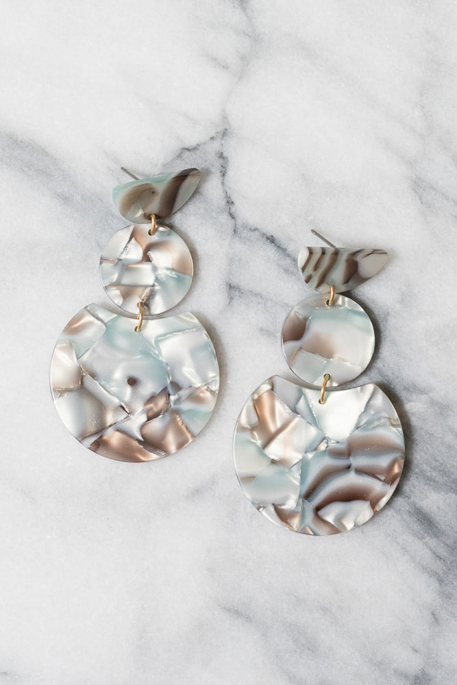 Awenita Earrings | Grey/Blue Acrylic | Janna Conner