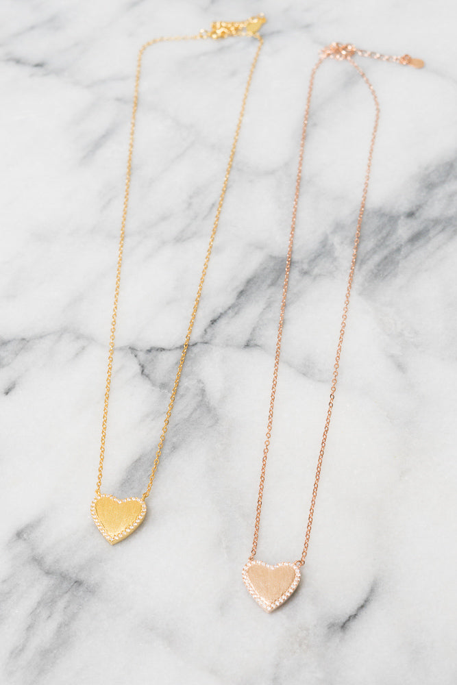 matte rose gold and yellow gold heart necklaces