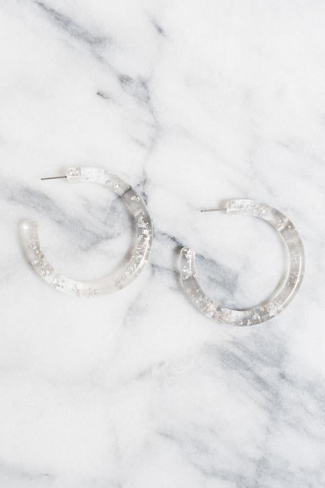 silver leaf acrylic snowflake hoop earrings