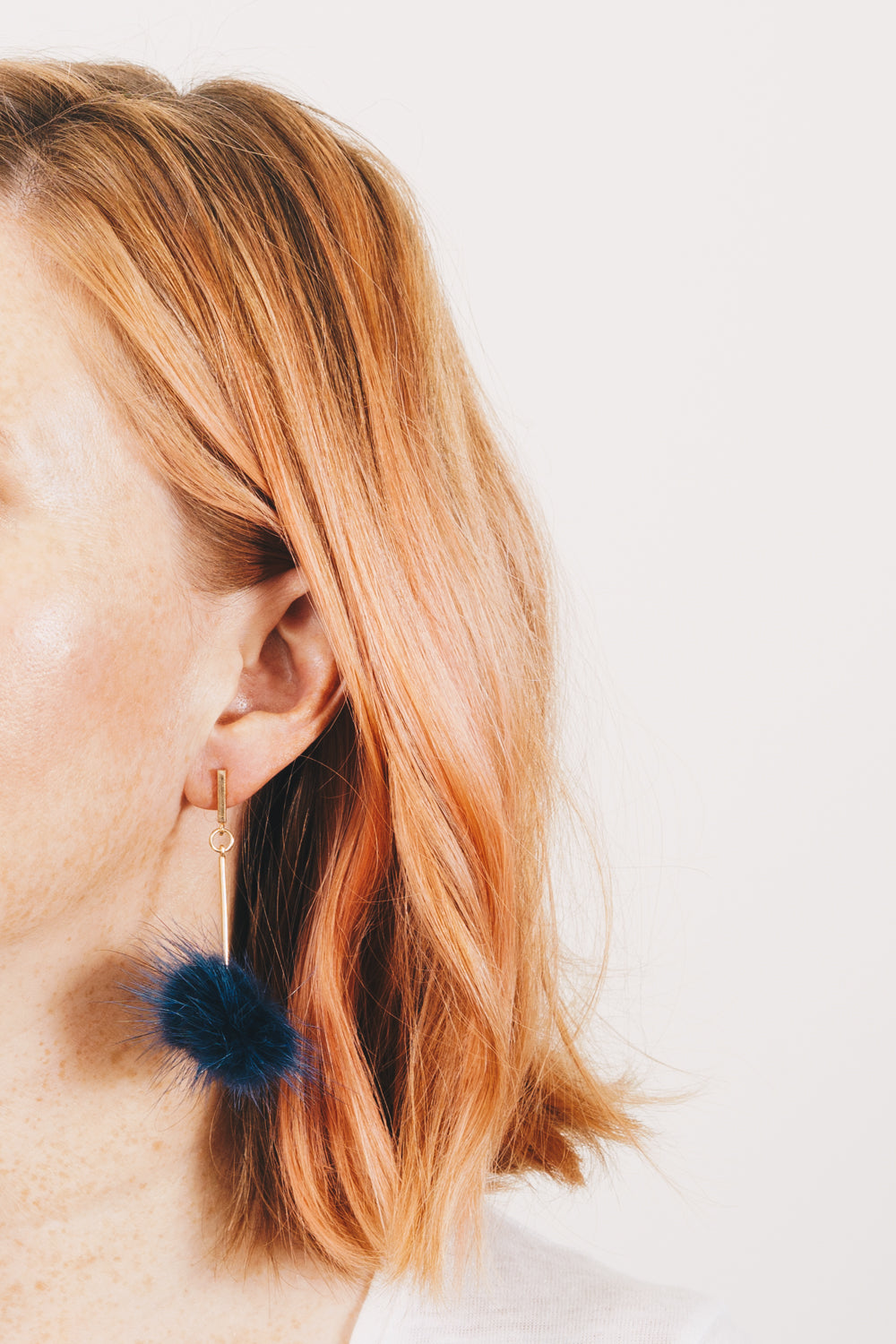 Kat Earrings | Faux Fur Pom Pom Earrings | Janna Conner