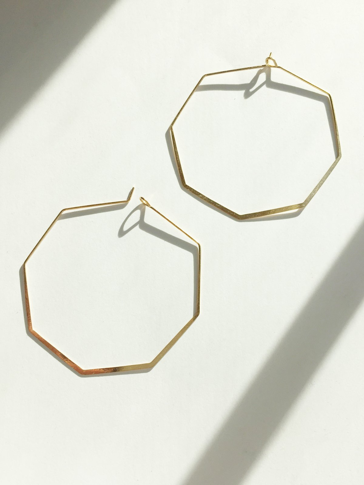 gold wire hoop earrings octagon shape  by Janna Conner