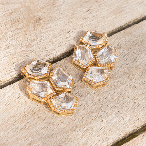 Chandelier Cubist White Topaz Earrings | 14K Gold | Janna Conner