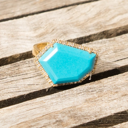 Cubist Cocktail Ring in Turquoise | 14K Gold | Janna Conner