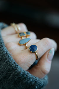 Lidia Ring | Botswana Agate | 18k Gold Plating | Janna Conner