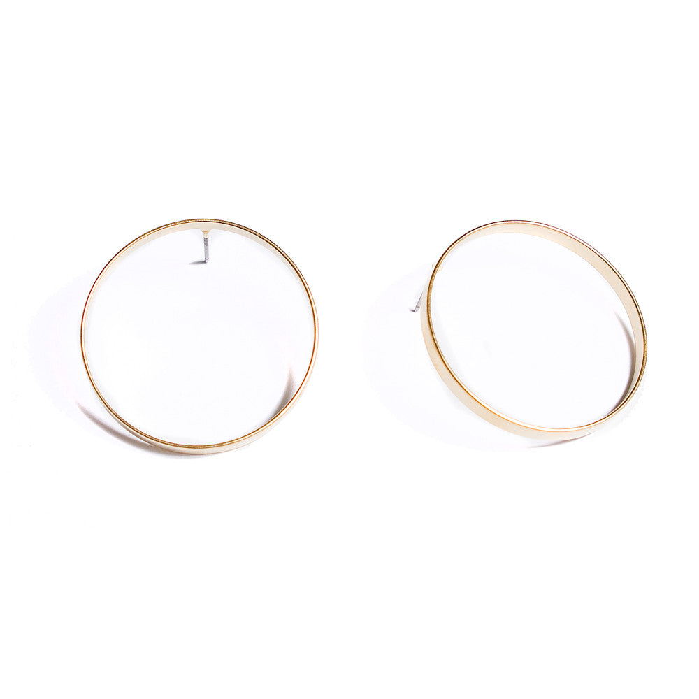Circle Earrings | Gold Chai Large Studs | 18K Gold Plating | Holiday Sale